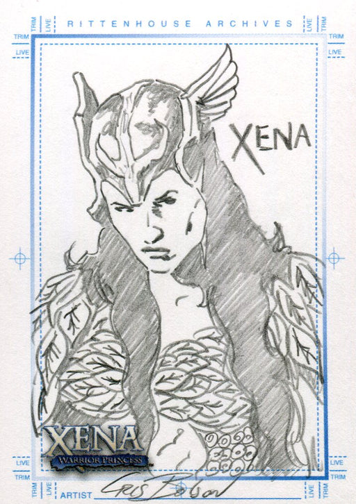 Xena Art & Images Sketch Card by Cris Bolson Xena with Helmet   - TvMovieCards.com