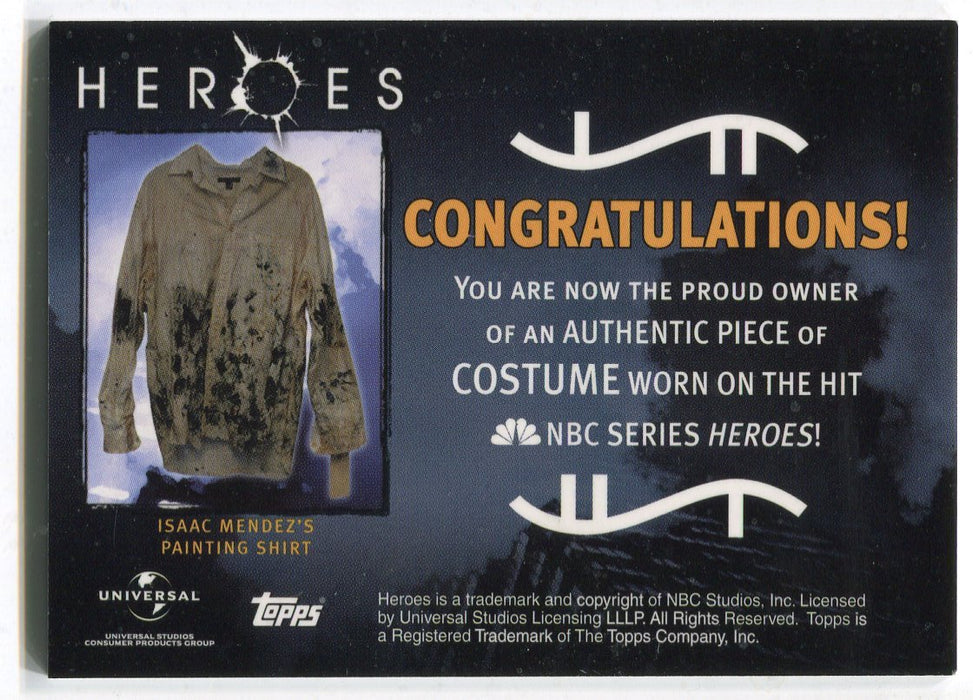 Heroes Volume 1 Isaac Mendez Painting Shirt Costume Card Variant #3 Topps 2008   - TvMovieCards.com