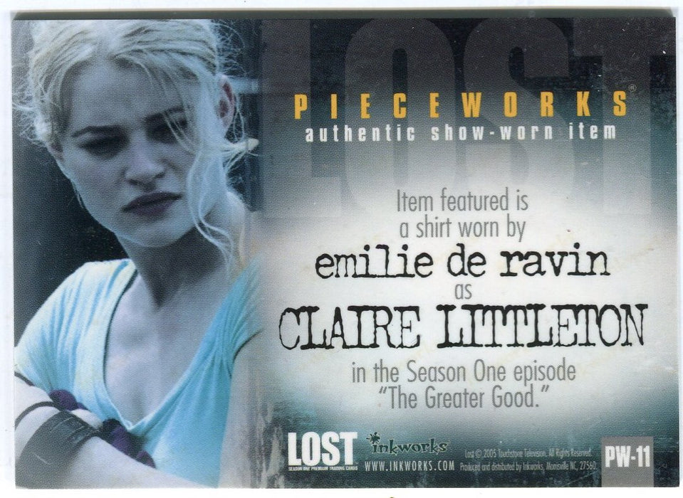 Lost Season 1 One PW-11 Emilie de Ravin Claire Littleton Pieceworks Costume Card   - TvMovieCards.com