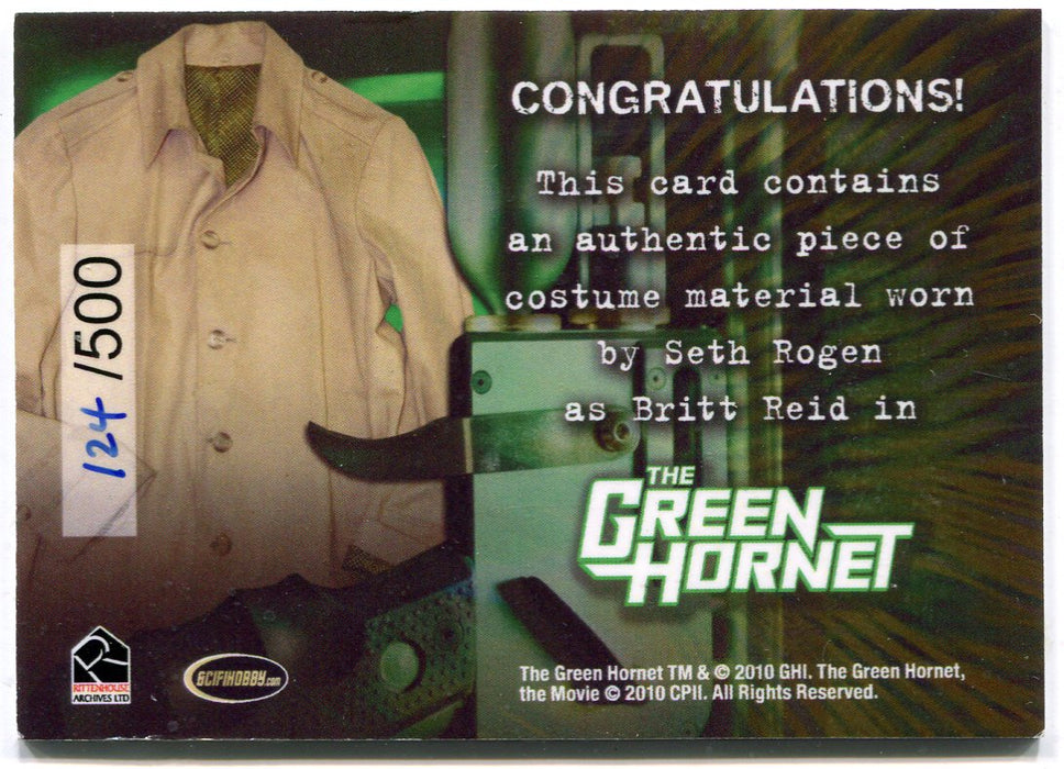Green Hornet 2011 Movie Seth Rogan as Britt Reid Costume Card 124/500   - TvMovieCards.com