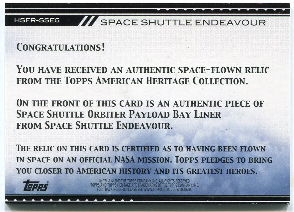 American Heritage Heroes HSFR-SSE5 Endeavour Space Shuttle Payload Liner Card   - TvMovieCards.com