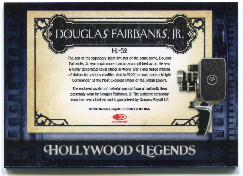 2008 Donruss Americana II Hollywood Legends Douglas Fairbanks HL-52 Costume Card   - TvMovieCards.com