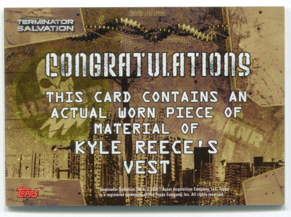 Terminator Salvation Movie Kyle Reece's Vest Costume Card Topps 2009   - TvMovieCards.com