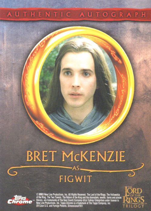 Lord of the Rings Trilogy Chrome Bret McKenzie as Figwit Autograph Card   - TvMovieCards.com