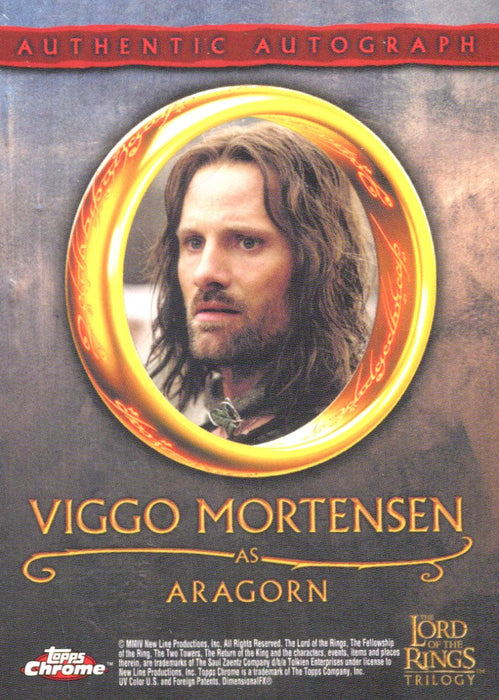 Lord of the Rings Trilogy Chrome Viggo Mortensen as Aragorn Autograph Card   - TvMovieCards.com
