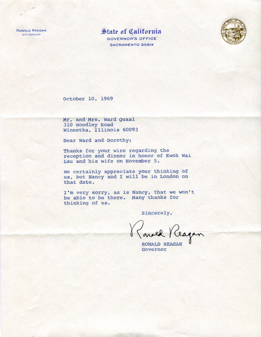 Original Signature Letter Governor Ronald Reagan October 10, 1969   - TvMovieCards.com
