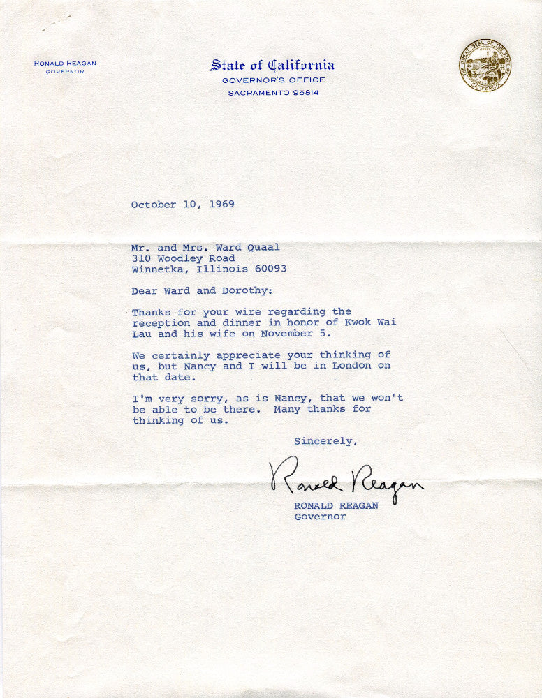 Original Hand-signed Signature Letter Governor Ronald Reagan October 10, 1969 Front