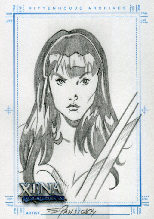 Xena Art & Images Sketch Card by Eduardo Pansica Xena Sword Across Chest   - TvMovieCards.com
