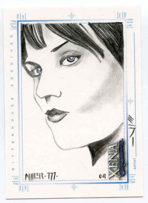 Xena Art & Images Sketch Card by Steven Miller Xena Side View   - TvMovieCards.com