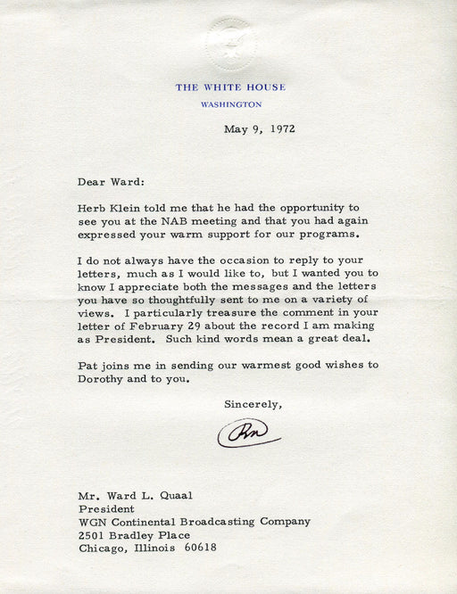 Original Signature Letter President Richard Nixon May 9, 1972   - TvMovieCards.com