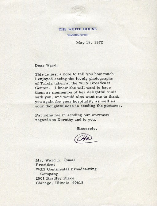 Original Signature Letter President Richard Nixon May 18, 1972   - TvMovieCards.com