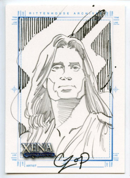Xena Art & Images Sketch Card by John Czop Hercules with Stripes   - TvMovieCards.com
