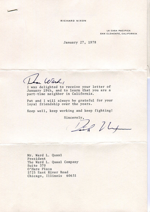 Original Signature Letter President Richard Nixon January 27, 1978   - TvMovieCards.com