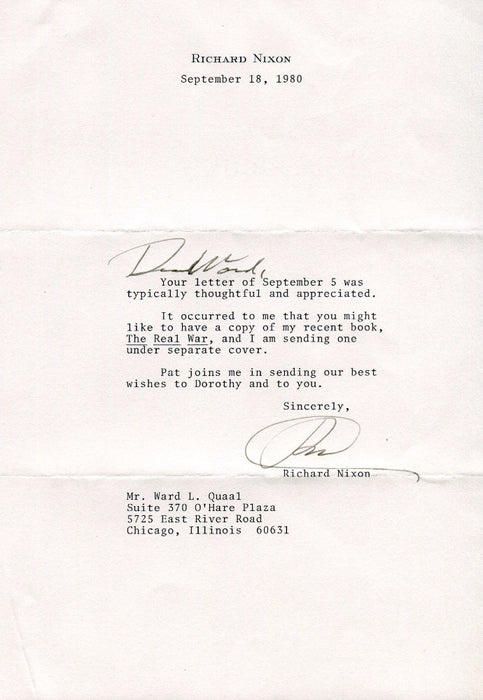 Original Signature Letter President Richard Nixon September 18, 1980   - TvMovieCards.com