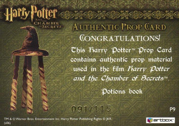 Harry Potter and the Chamber of Secrets Potions Book Prop Card HP P9 #091/115   - TvMovieCards.com