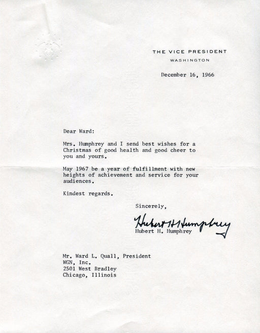 Original Signature Letter Vice President Hubert Humphrey December 16   - TvMovieCards.com