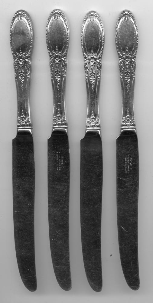 4 Old Mirror Knives by Towle Sterling Silver Handle 8-7/8 Inch French Blade Knif   - TvMovieCards.com