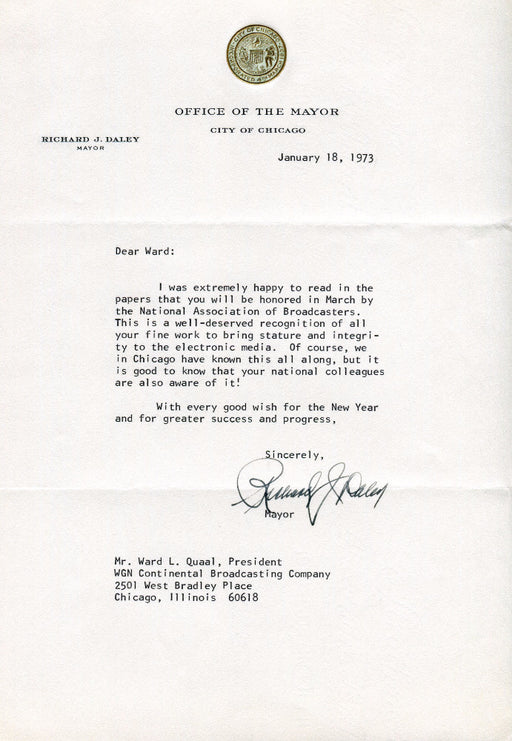 Original Signature Letter Chicago Mayor Richard J. Daley January 18,   - TvMovieCards.com