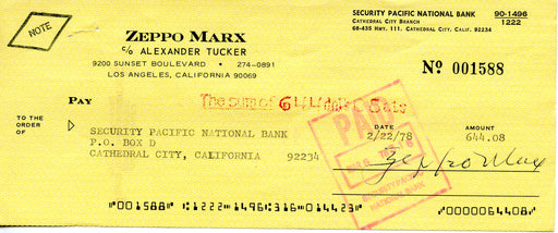 Zeppo Marx Hand Signed Autograph Check 1978    The Marx Brothers   - TvMovieCards.com
