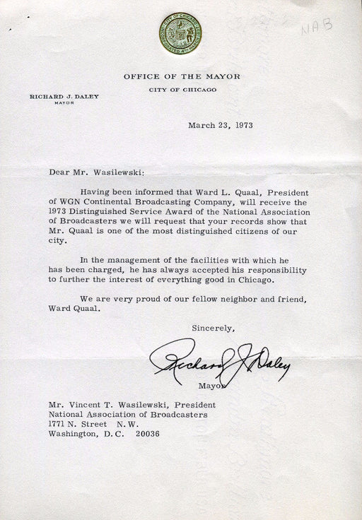 Original Signature Letter Chicago Mayor Richard J. Daley March 23, 1   - TvMovieCards.com