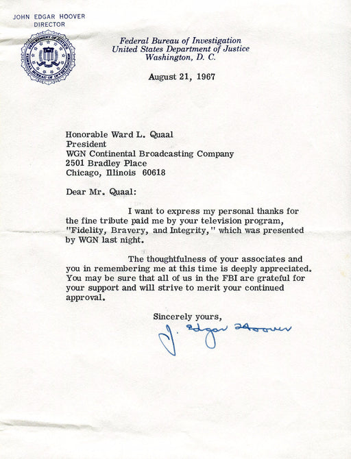 Original Signature Letter J. Edgar Hoover FBI Director August 21, 19   - TvMovieCards.com