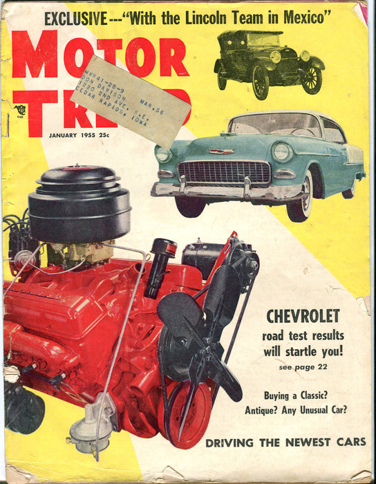 Jan 1955 Motor Trend Car Magazine - Chevrolet Road Test Results Will Startle You   - TvMovieCards.com