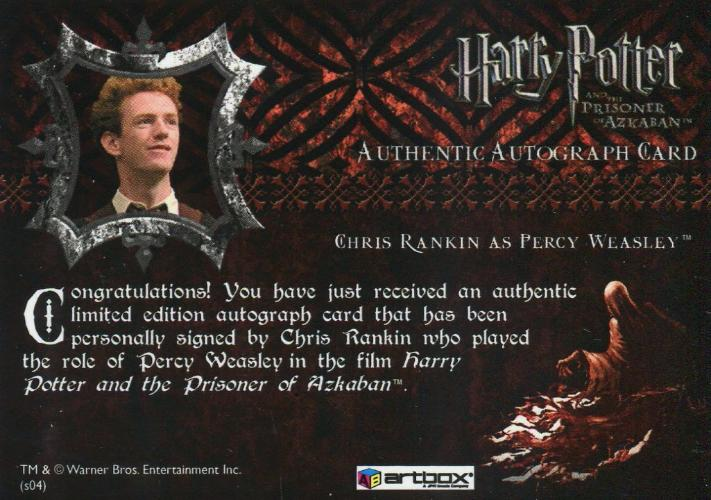 Harry Potter and the Prisoner of Azkaban Update Chris Rankin Autograph Card   - TvMovieCards.com