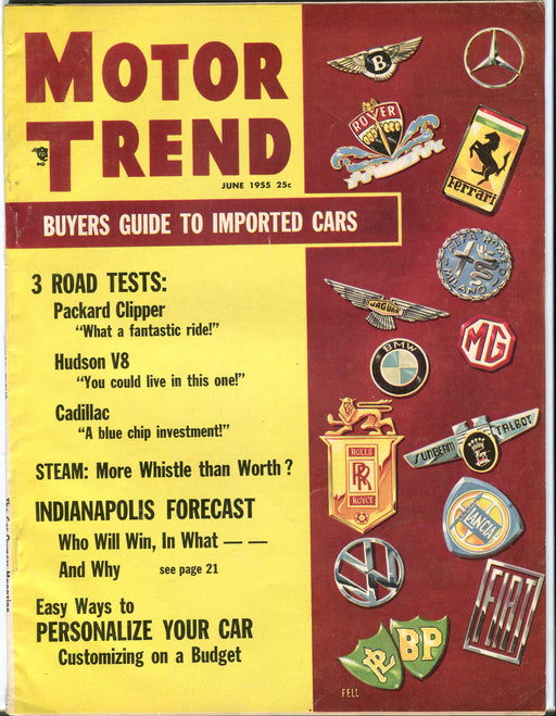 June 1955 Motor Trend Car Magazine - Buyers Guide to Imported Cars   - TvMovieCards.com