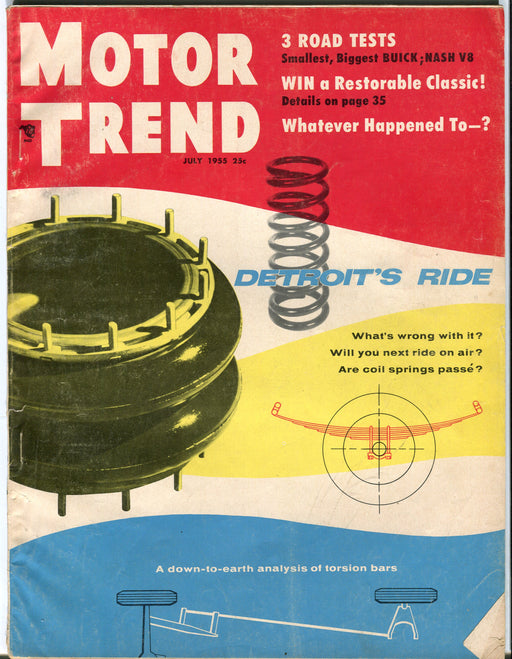 July 1955 Motor Trend Car Magazine - 3 Road Tests, Buick Nash V8   - TvMovieCards.com