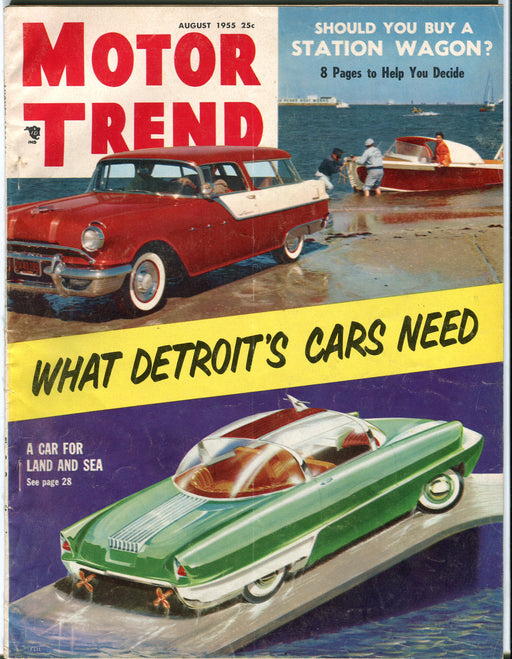 August 1955 Motor Trend Car Magazine - Should You Buy A Station Wagon?   - TvMovieCards.com