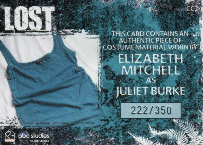 Lost Relics Elizabeth Mitchell as Juliet Burke Relic Costume Card CC2 #222/350   - TvMovieCards.com