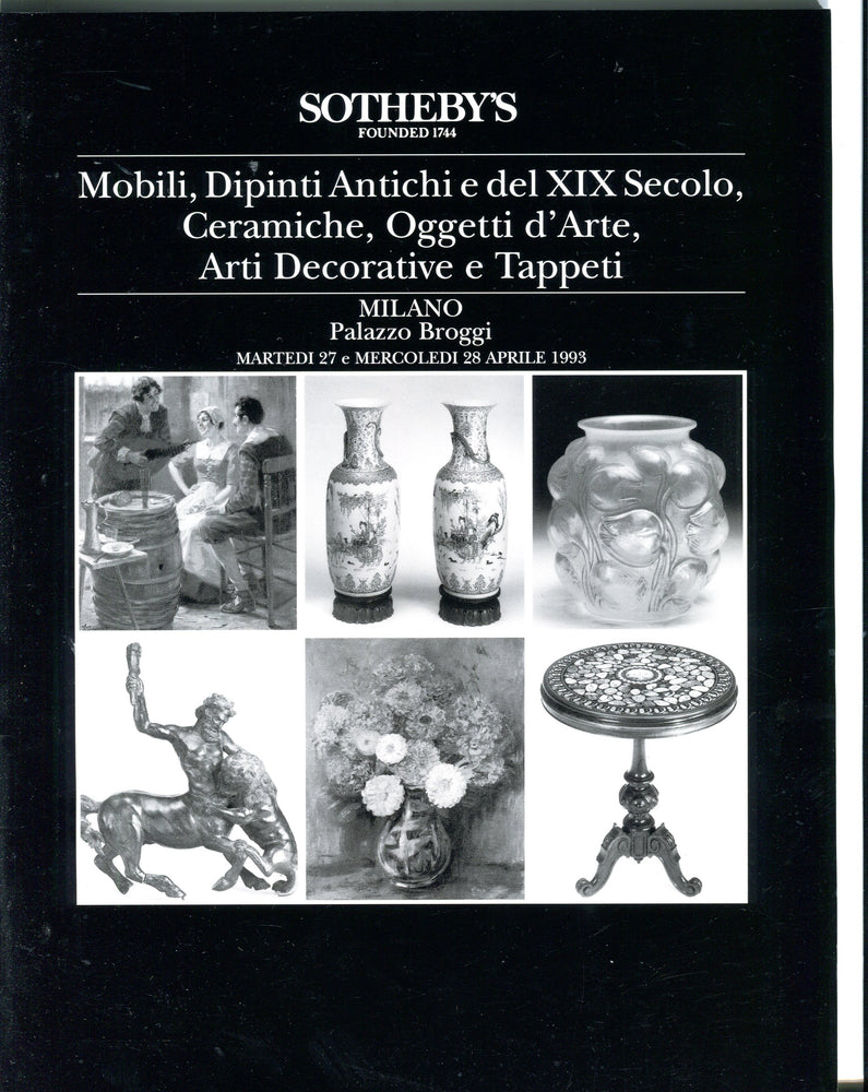 Sothebys Auction Catalog April 27 1993 Mobili XIX Secolo Ceraniche - Milano   - TvMovieCards.com