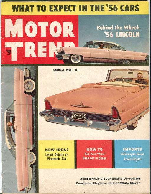 October 1955 Motor Trend Car Magazine - Behind The Wheel: '56 Lincoln   - TvMovieCards.com