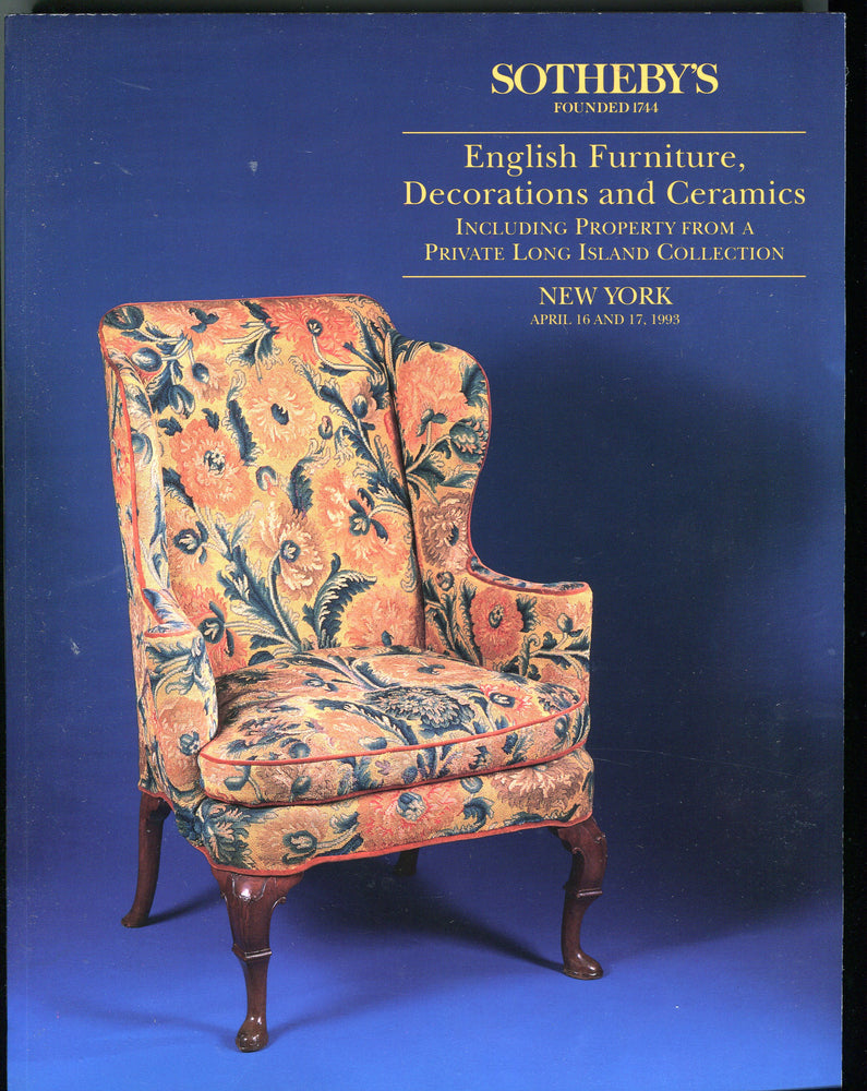Sothebys Auction Catalog April 16 1993 English Furniture Decorations & Ceramics   - TvMovieCards.com