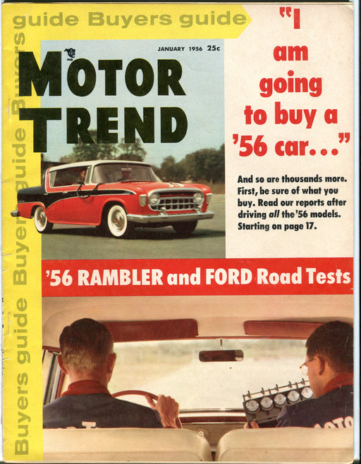 Jan 1956 Motor Trend Car Magazine - '56 Rambler and Ford Road Tests   - TvMovieCards.com