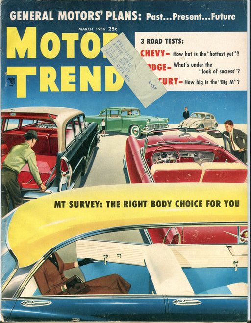 March 1956 Motor Trend Car Magazine - General Motors Past Present Future   - TvMovieCards.com