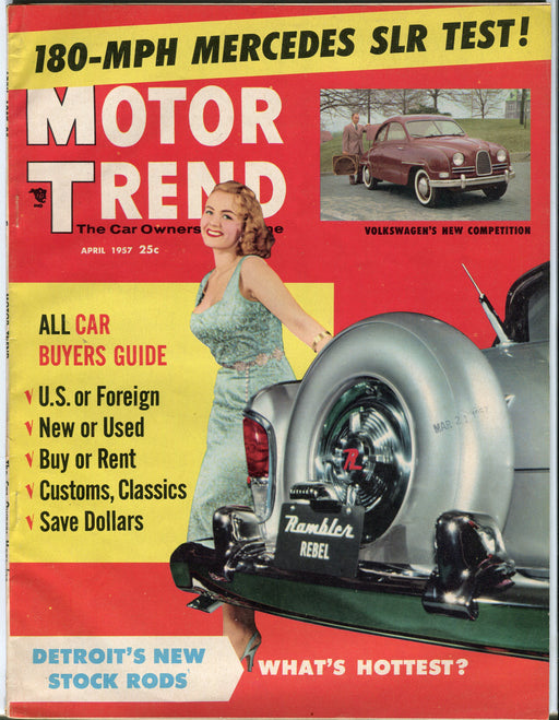 April 1957 Motor Trend Car Magazine - 180 MPH Mercedes SLR Test!   - TvMovieCards.com