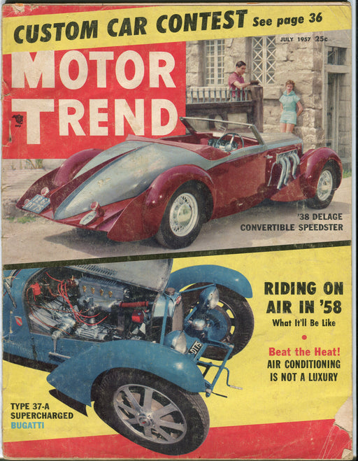 July 1957 Motor Trend Car Magazine - Type 37-A Supercharger Bugatti '38 Delage   - TvMovieCards.com