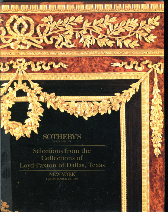 Sothebys Auction Catalog March 26 1993 Loyd-Paxton Collection - NY   - TvMovieCards.com