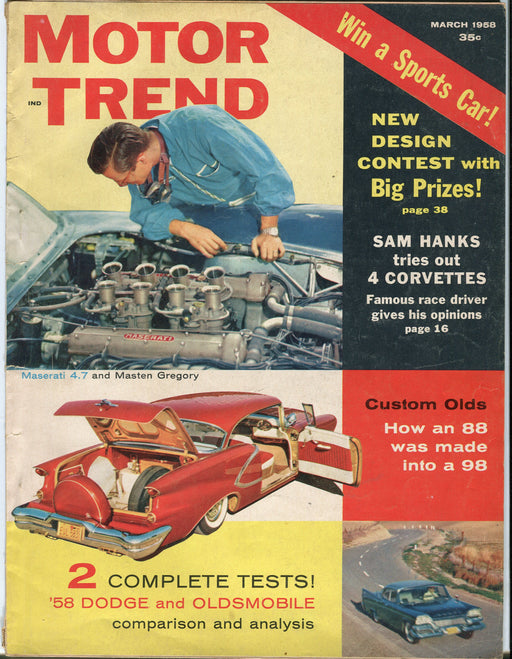 "March 1958 Motor Trend Car Magazine - ""58 Dodge and Oldsmobile Tests   - TvMovieCards.com"