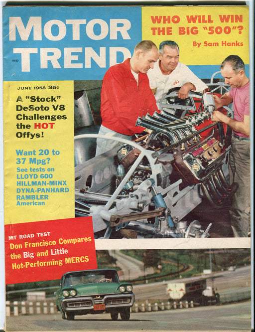 June 1958 Motor Trend Car Magazine - Hot Performing Mercurys   - TvMovieCards.com