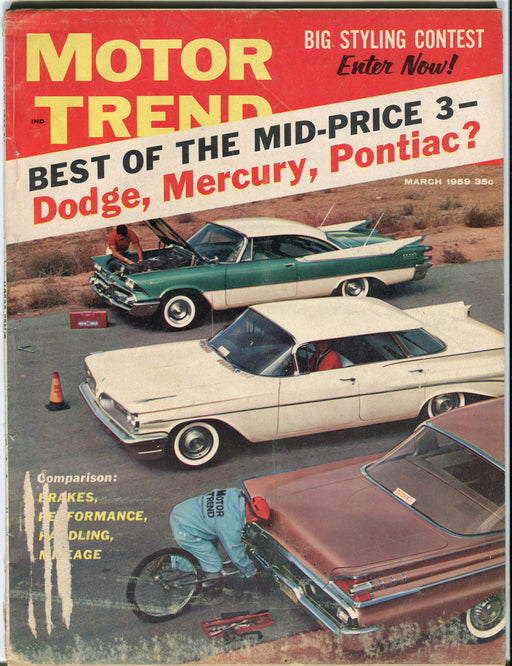 March 1959 Motor Trend Car Magazine - Best Mid Price Dodge Mercury Pontiac?   - TvMovieCards.com
