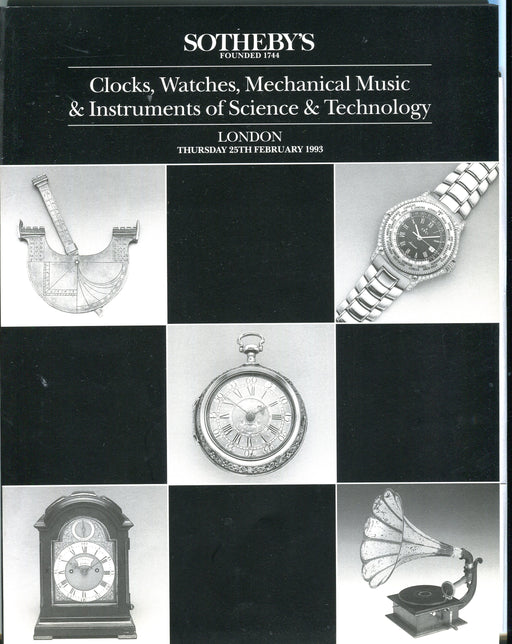 Sothebys Auction Catalog Feb 25 1993 Clocks Watches Mechanical Music Instruments   - TvMovieCards.com