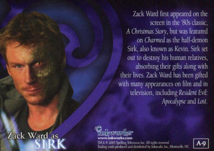 Charmed Conversations Zack Ward as Sirk Autograph Card A-9   - TvMovieCards.com