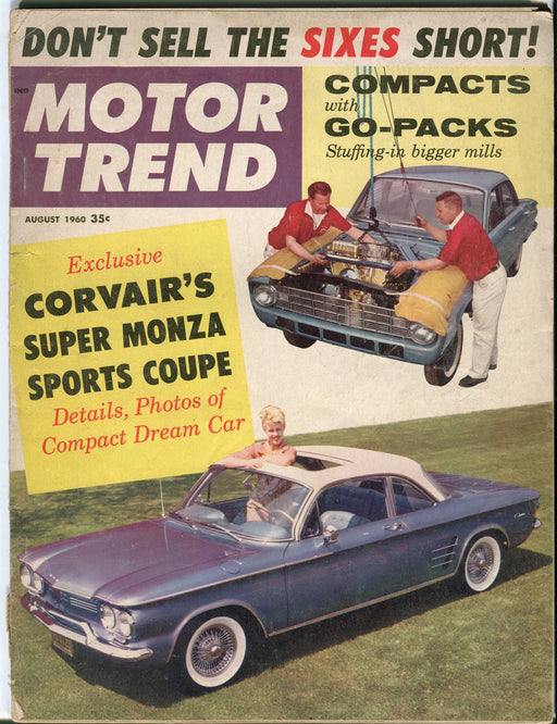 August 1960 Motor Trend Car Magazine - Corvair's Super Monza Sports Coupe