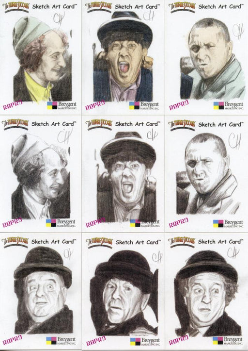 Three Stooges Repro Sketch Card Set by Chris Henderson  18 cards   - TvMovieCards.com
