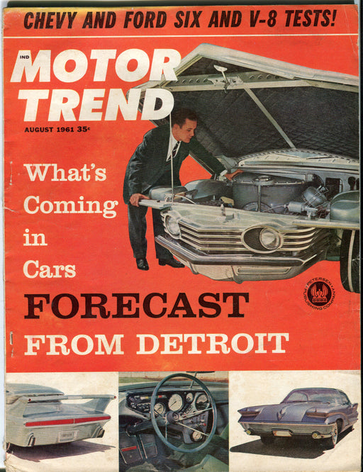 August 1961 Motor Trend Car Magazine - Whats Coming in Cars Forcast from Detroit   - TvMovieCards.com
