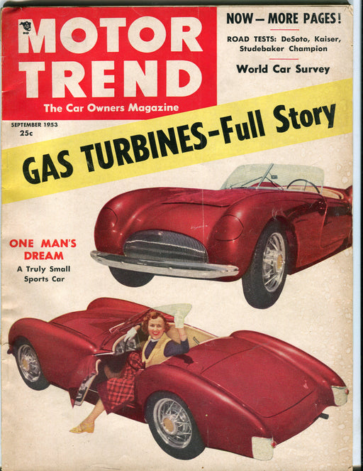 Sept 1953 Motor Trend Car Magazine - Gas Turbines - Full Story   - TvMovieCards.com
