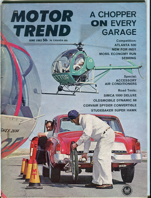 June 1963 Motor Trend Car Magazine - A Chopper on Every Garage Hughes 269-A   - TvMovieCards.com