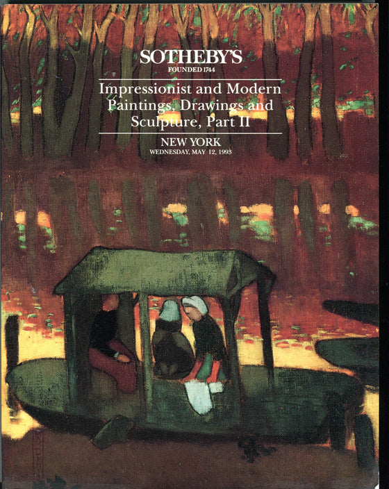 Sothebys Auction Catalog May 12 1993 Impressionist Modern Paintings Drawings NY